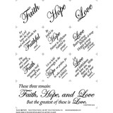 Faith Hope and Love Fabric Panel - 18in x 20in