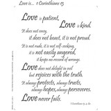 Love Is, 1 Corinthians 13  Fabric Panel 18in x 20in