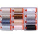 Aurifil, 12 Spool, Piece & Quilt Thread Collection in Neutrals - 1422 yds (50wt)