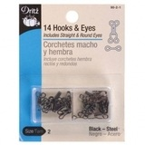 Hook and Eye Closures (14pk) Black #D90B