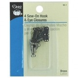 Sew-On Hook and Eye Closures (4pk), #D93-1