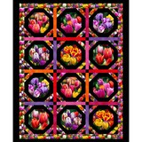 Elizabeth's Studio, Digitally Printed, Tulip Garden Fabric Panel