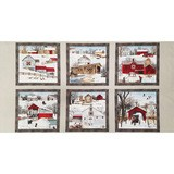 Headin Home Country Christmas Fabric Panel