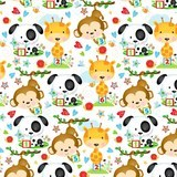 Puppy & Pals Character Flannel Fabric - White