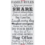"Timeless Treasures, Family Rules Fabric Panel 24"", Dove"