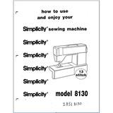 Instruction Manual, Simplicity SL8130