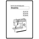 Instruction Manual, Simplicity SL9240