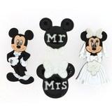 Novelty Disney Buttons & Embellishments  - Mickey & Minnie Wedding