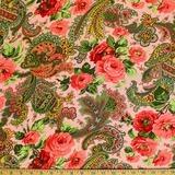 Verna Mosquera, Indigo Rose, Rose Paisley, Carnations Fabric