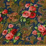 Verna Mosquera, Indigo Rose, Paisley, Midnight Blue Fabric