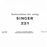 Instruction Manual, Singer 221 (Featherweight)