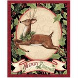 Woodland Deer Christmas Fabric Panel - 36in