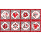 Robert Kaufman, Holiday Flourish, Silver Poinsettia Fabric Panel