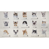 Elizabeth's Studio, Cat Breeds Fabric Panel