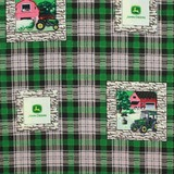 John Deere, Farm Scene Blocks, Plaid Fabric