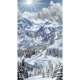 Timeless Treasures Scenic Winter Mountain Trail Fabric Panel