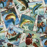 Elizabeth's Studio, Fishing Collage Fabric