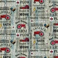 Farmall Hometown Life Words Fabric - Blue