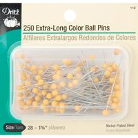 250 Extra Long Color Ball Pins (Size 28), Dritz