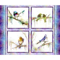 Color Splash, Digitally Printed Bird Fabric Panel - 36x42in