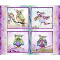 Boho Owls, Digitally Printed Owl Fabric Panel - 36x44in