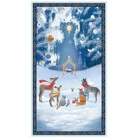 Woodland Dream Nativity Fabric Panel, Navy