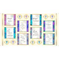 Faith, Religious Picture Patches Fabric Panel - Cream