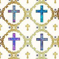 Faith, Crosses Fabric - Cream