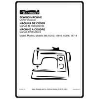 Instruction Manual, Kenmore 385.15212 Models