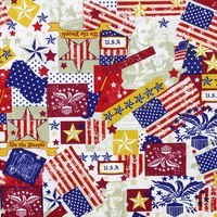 Patriotic, Red, White and Blue, Antique Fabric