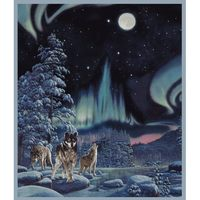 Whistler Studios, Northern Lights Wolf Fabric Panel