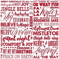 Holiday Wishes, Season Greetings Fabric - White