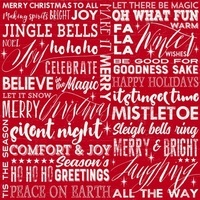 Holiday Wishes, Season Greetings Fabric - Red