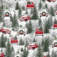 Holiday Wishes, Antique Red Truck Fabric
