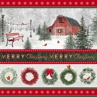Holiday Wishes, Merry Christmas Wreaths Fabric