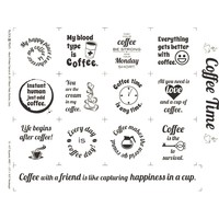 Coffee Time Fabric Panel - White