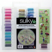Sulky, Slimline Case with Holiday Spoolie Thread Collection - 47 Spools