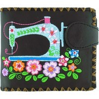 Faux Leather Embroidered Sewing Machine Wallet - Black