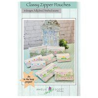 Classy Zipper Pouches Embroidery Pattern