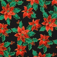 Merry Christmas Metallic Fabric, Poinsettias, Black