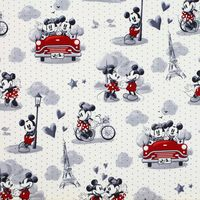 Disney, Vintage Scenes of Romance, Mickey and Minnie Mouse Fabric