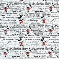 Disney, Mickey and Minnie Mouse Fabric, Vintage