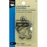 2pk Overall Buckles w/ No-Sew Buttons (1in) - Nickel