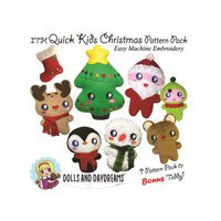 Quick Kids Christmas Embroidery Dolls Pattern Pack