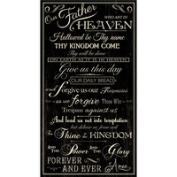 Timeless Treasures, The Lord's Prayer Fabric Panel - Black