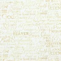Timeless Treasures, Religious Phrases, Faith Fabric, Cream