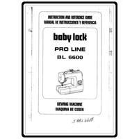 Instruction Manual, Babylock BL6600 Pro Line