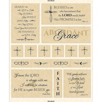 Timeless Treasures, Abundant Grace, Scripture Fabric Panel, Cream