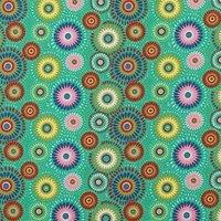 Lucky Medallion Fabric, Teal