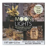 Darice's LED Moon Lights (11-1/2 ft) - Silver Wire
